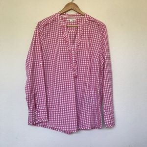 Banana Republic XL Gingham Ruffle Blouse Pockets